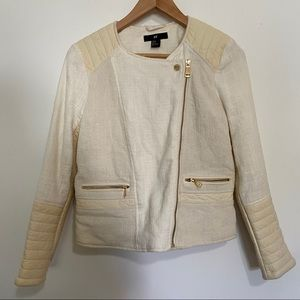 H&M Leather Biker Blazer Casual Tweed Jacket